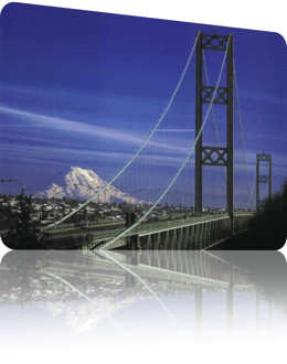 Mount Rainier Tacoma Narrows Bridge